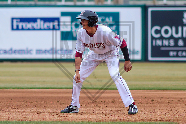 Wisconsin Timber Rattlers outfielder Ryan Aguilar (21) during a Midwest League game against the Burlington Bees on April 11th, 2017 at Fox Cities Stadium in Appleton, Wisconsin.  Wisconsin defeated Burlington 4-3. (Brad Krause/Krause Sports Photography)