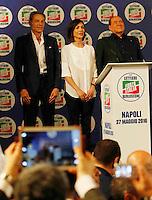 Manifestazione elettorale di Forza Italia a sostegno del candidato sindaco del centrodestra nelle prossime elezioni amministrative<br /> Mara Carfagna e Silvio Berlusconi, Gianni Lettieri