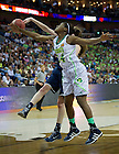 Apr 7, 2013; Markisha Wright reaches for the ball against Connecticut  during the semifinals of the 2013 NCAA women's basketball Final Four at the New Orleans Arena. Connecticut defeated Notre Dame 83 to 65. Photo by Barbara Johnston/ University of Notre Dame