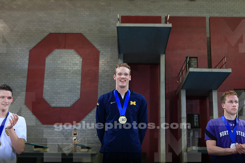 The University of Michigan men's swimming and diving team win the 2017 men's Big Ten Championships at the Ohio State University. February 25, 2017.<br /> (Photo by Walt Middleton Photography 2017)