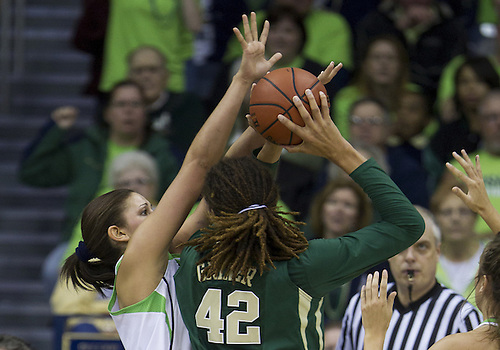 December 05, 2012:  Baylor center Brittney Griner (42) goes up for a shot as Notre Dame forward Natalie Achonwa (11) defends during NCAA Women's Basketball game action between the Notre Dame Fighting Irish and the Baylor Bears at Purcell Pavilion at the Joyce Center in South Bend, Indiana.  Baylor defeated Notre Dame 73-61.