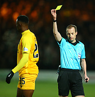 4th March 2020; Almondvale Stadium, Livingston, West Lothian, Scotland; Scottish Premiership Football, Livingston versus Celtic; Efe Ambrose of Livingston is yellow carded by referee Willie Collum