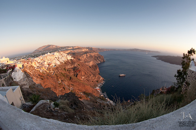 Very Wide view of Fira at Dusk