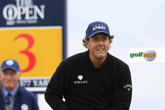 Phil Mickelson (USA) tees off the 3rd tee during Saturday's Round 3 of the 145th Open Championship held at Royal Troon Golf Club, Troon, Ayreshire, Scotland. 16th July 2016.<br /> Picture: Eoin Clarke | Golffile<br /> <br /> <br /> All photos usage must carry mandatory copyright credit (&copy; Golffile | Eoin Clarke)