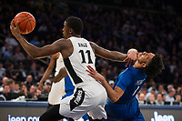 NEW YORK, NY - Thursday March 9, 2017: Alpha Diallo (#11) of Providence and Davion Mintz (#1) of Creighton fight for a ball as the two schools square off in the Quarterfinals of the Big East Tournament at Madison Square Garden.
