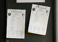 October 25, 2009: Lineup cards of the Clemson Tigers for an intra-squad Orange and Purple scrimmage game at the end of fall practice at Doug Kingsmore Stadium in Clemson, S.C. Photo by: Tom Priddy/Four Seam Images