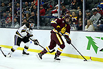 SIOUX FALLS, SD - MARCH 23: Mikey Anderson #3 from Minnesota Duluth controls the puck in front of Marc Michaelis #20 from Mankato during their game at the 2018 West Region Men's NCAA DI Hockey Tournament at the Denny Sanford Premier Center in Sioux Falls, SD. (Photo by Dave Eggen/Inertia)