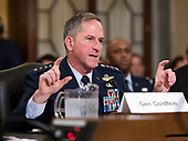 """United States Air Force General David L. Goldfein, Chief of Staff of the Air Force gives testimony before the US Senate Committee on Armed Services Subcommittee on Readiness and Management Support during a hearing titled """"US Air Force Readiness"""" on Capitol Hill in Washington, DC on Wednesday, October 10, 2018.<br /> Credit: Ron Sachs / CNP"""