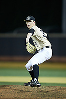 Wake Forest Demon Deacons relief pitcher William Fleming (38) in action against the Liberty Flames at David F. Couch Ballpark on April 25, 2018 in  Winston-Salem, North Carolina.  The Demon Deacons defeated the Flames 8-7.  (Brian Westerholt/Four Seam Images)