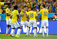 FUSSBALL WM 2014                ACHTELFINALE Kolumbien - Uruguay                  28.06.2014 Kolumbien bejubelt den Treffer nach dem 2:0: Carlos Sanchez, Teofilo Gutierrez, Juan Zuniga und James Rodriguez (v.l., alle Kolumbien)