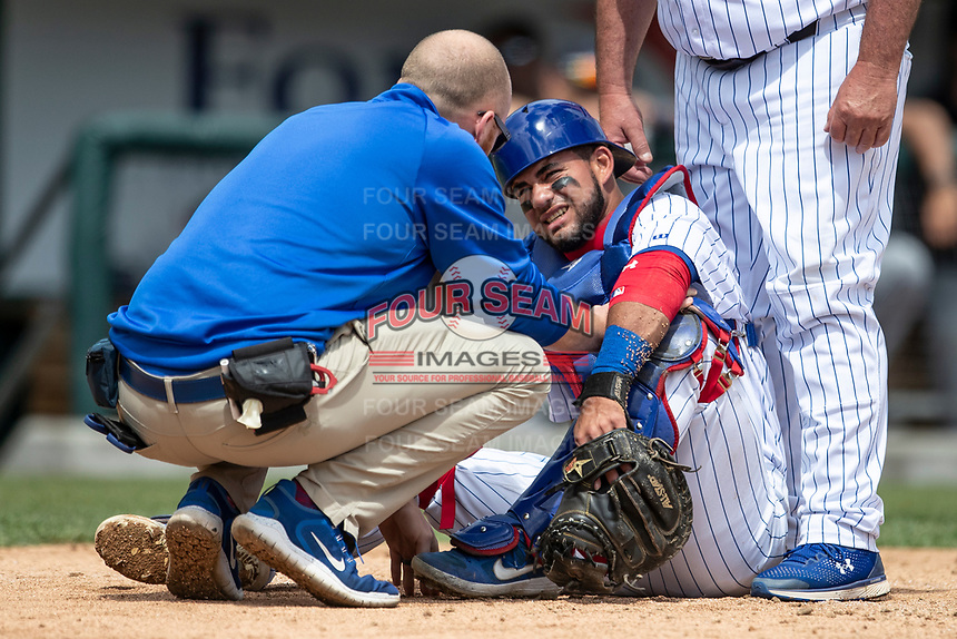 South Bend Cubs catcher Eric Gonzalez (20) grimaces in pain as he talks to trainer James Edwards after getting hit behind the plate against the Lake County Captains on May 30, 2019 at Four Winds Field in South Bend, Indiana. The Captains defeated the Cubs 5-1.  (Andrew Woolley/Four Seam Images)