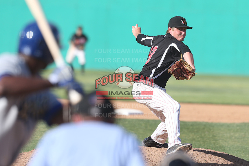 Will Mathis #13 of the High Desert Mavericks pitches against the Rancho Cucamonga Quakes at Stater Bros. Stadium on May 27, 2014 in Adelanto, California. High Desert defeated Rancho Cucamonga, 5-4. (Larry Goren/Four Seam Images)