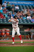 Great Lakes Loons Luke Heyer (16) during a Midwest League game against the Clinton LumberKings on July 19, 2019 at Dow Diamond in Midland, Michigan.  Clinton defeated Great Lakes 3-2.  (Mike Janes/Four Seam Images)