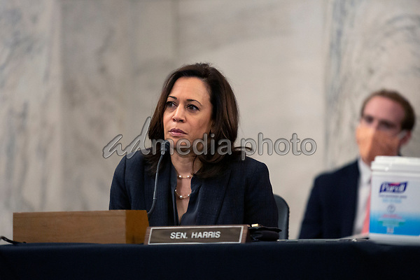 United States Senator Kamala Harris (Democrat of California) listens during a U.S. Senate Committee on Homeland Security and Governmental Affairs meeting in the Senate Russell Office Building in Washington D.C., U.S., on Wednesday, May 20, 2020, to consider a motion to issue a subpoena to Blue Star Strategies.  Credit: Stefani Reynolds / CNP/AdMedia