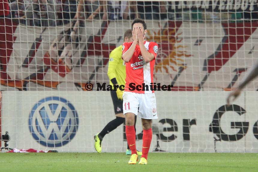 Yunus Malli (Mainz) ärgert sich nach vergebener Chance- 1. FSV Mainz 05 vs. 1. FC Köln, Coface Arena, 2. Runde DFB-Pokal