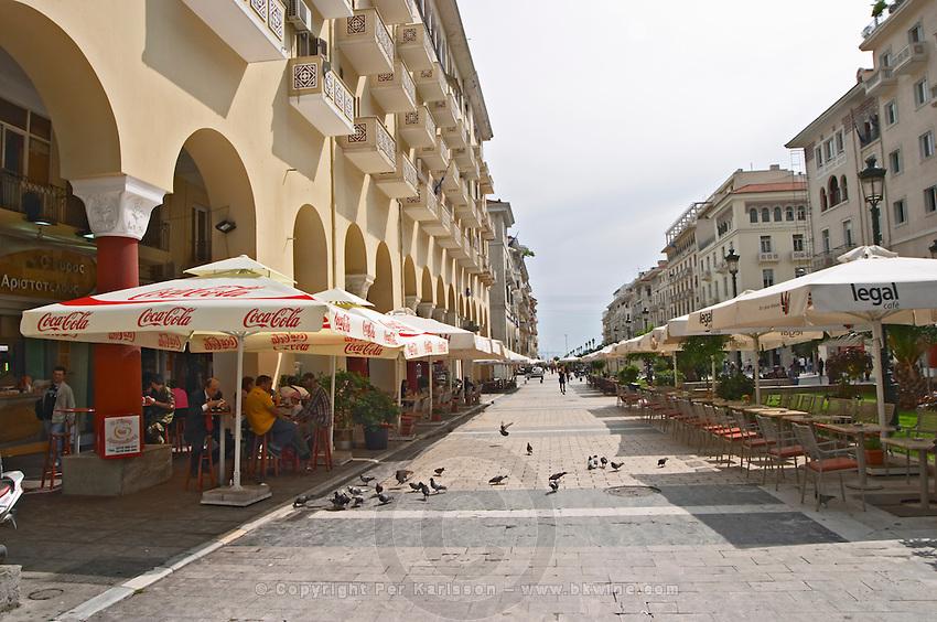 Aristotelous Aristotle Avenue with cafes. Thessaloniki, Macedonia, Greece
