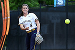 25 April 2016: Notre Dame's Rachel Nasland warms up in the bullpen. The University of North Carolina Tar Heels hosted the University of Notre Dame Fighting Irish at Anderson Stadium in Chapel Hill, North Carolina in a 2016 NCAA Division I softball game. UNC won the game 7-6.