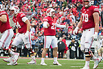 Wisconsin Badgers kicker Rafael Gaglianone (27) celebrates a field goal during an NCAA College Big Ten Conference football game against the Purdue Boilermakers Saturday, October 14, 2017, in Madison, Wis. The Badgers won 17-9. (Photo by David Stluka)
