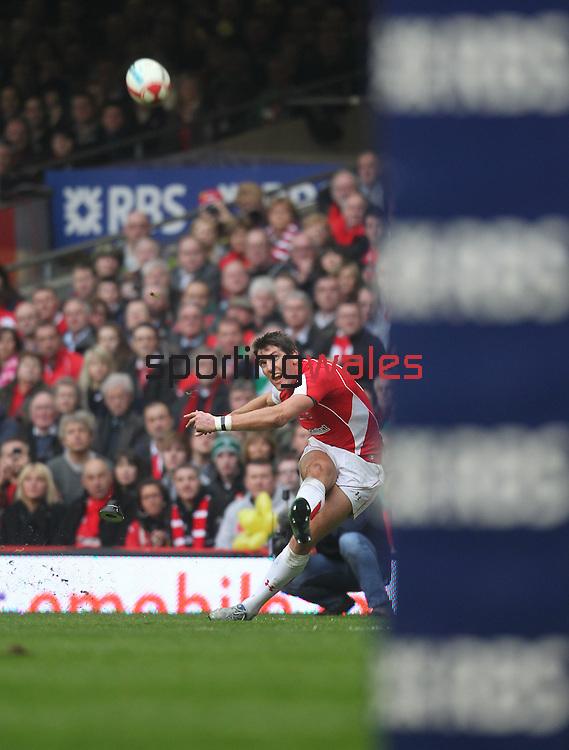 James Hook kicks a penalty..RBS 6 Nations 2011.Wales v Ireland.Millennium Stadium.12.03.11.Photo Credit: Steve Pope - Sportingwales
