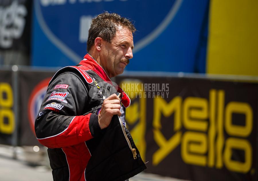Jun 17, 2017; Bristol, TN, USA; NHRA pro stock driver Greg Anderson during qualifying for the Thunder Valley Nationals at Bristol Dragway. Mandatory Credit: Mark J. Rebilas-USA TODAY Sports