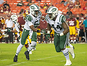 New York Jets quarterback Teddy Bridgewater (5) fakes a hand-off to fullback Lawrence Thomas (44) during fourth quarter action against the Washington Redskins at FedEx Field in Landover, Maryland on Thursday, August 16, 2018.  The Redskins won the game 15 - 13.<br /> Credit: Ron Sachs / CNP<br /> (RESTRICTION: NO New York or New Jersey Newspapers or newspapers within a 75 mile radius of New York City)