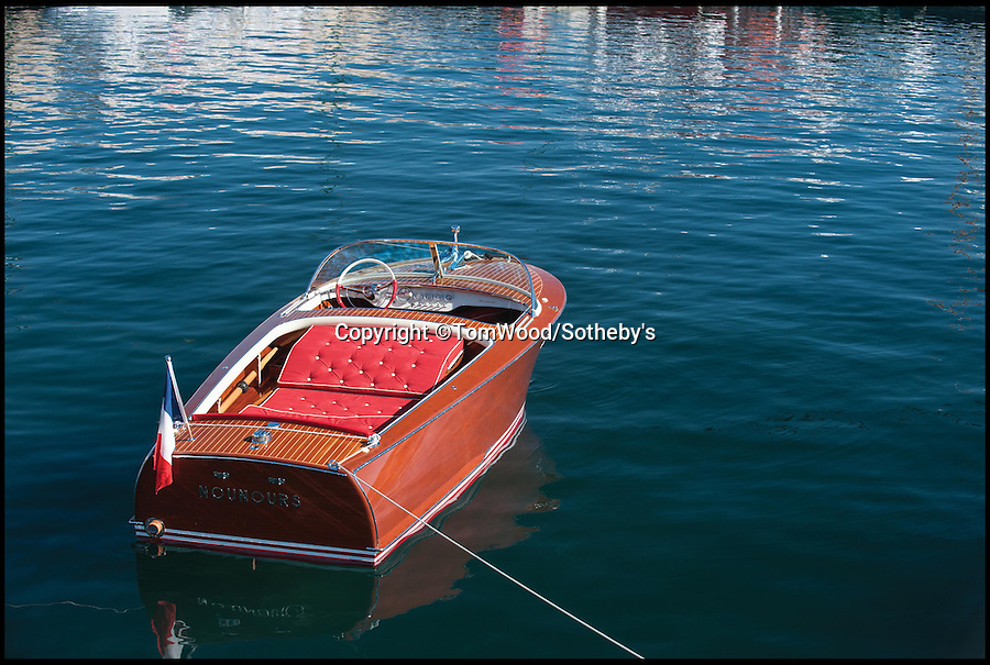 BNPS.co.uk (01202 558833)<br /> Pic: Tom Wood/Sotheby's/BNPS<br /> <br /> A classic speedboat gifted to sex symbol Brigitte Bardot in the halcyon days of the St Tropez jet set has gone on sale for a whopping £90,000.<br /> <br /> Screen siren Bardot was bought the stunning 20ft Riva Florida in 1959 by her then husband, French screenwriter and director Roger Vadim, after she moved into her private waterside villa the year previously.<br /> <br /> It is now being sold by RM Sothebys.