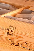 Bottle of Malhadinha 2005. Drawing by Matilde. In wooden case. Herdade da Malhadinha Nova, Alentejo, Portugal