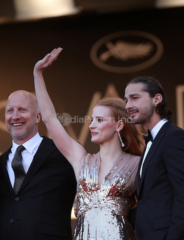 ../Nick Cave, director John Hillcoat, actress Jessica Chastain and actor Shia Labeouf attend the 'Lawless' Premiere during the 65th Annual Cannes Film Festival at Palais des Festivals on May 19, 2012 in Cannes, France.  .. / Mediapunchinc