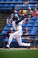 Binghamton Rumble Ponies center fielder Champ Stuart (2) follows through on a swing during a game against the Hartford Yard Goats on July 9, 2017 at NYSEG Stadium in Binghamton, New York.  Hartford defeated Binghamton 7-3.  (Mike Janes/Four Seam Images)