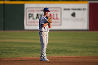 Stockton Ports shortstop Kevin Merrell (19) during a California League game against the Visalia Rawhide at Visalia Recreation Ballpark on May 8, 2018 in Visalia, California. Stockton defeated Visalia 6-2. (Zachary Lucy/Four Seam Images)