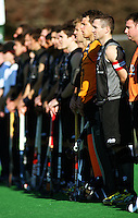 NZ captain Phil Burrows (2nd left) lines up alongside his Black Sticks teammates during the international hockey match between the New Zealand Black Sticks and Malaysia at Fitzherbert Park, Palmerston North, New Zealand on Sunday, 9 August 2009. Photo: Dave Lintott / lintottphoto.co.nz