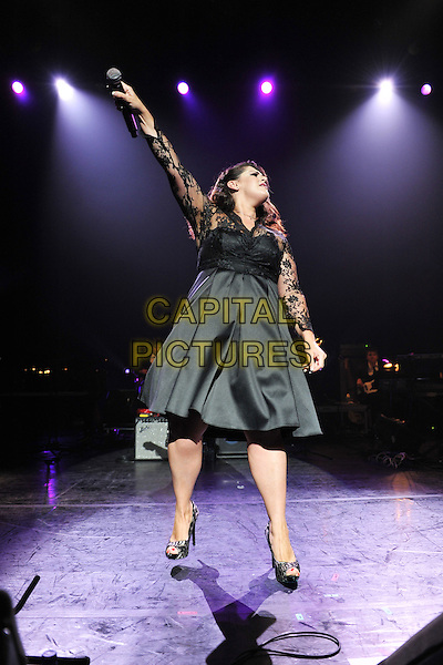 Jodie Prenger.Vintage 2011 at Royal Festival Hall, London, England, UK..July 31st, 2011.stage concert live gig performance music full length black lace dress arm in air profile.CAP/MAR.© Martin Harris/Capital Pictures.