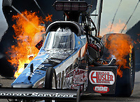 Mar 30, 2014; Las Vegas, NV, USA; NHRA top fuel dragster driver Bob Vandergriff Jr has a fire during the Summitracing.com Nationals at The Strip at Las Vegas Motor Speedway. Mandatory Credit: Mark J. Rebilas-USA TODAY Sports