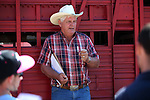 Joe Hedrick, of Hedrick's Exotic Animal Farm in Kansas, talks to the riders before the media day eventas at the 54th International Camel Races in Virginia City, Nev., on Friday, Sept. 6, 2013.  <br /> Photo by Cathleen Allison