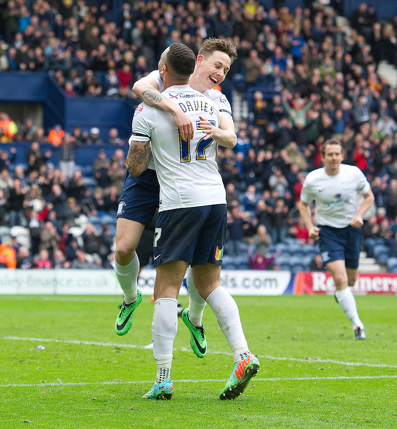 Preston North End's Craig Davies celebrates scoring his second and his sides fifth goal with team-mate Josh Brownhill who's initial shot set up the goal chance<br /> <br /> Photo by Stephen White/CameraSport<br /> <br /> Football - The Football League Sky Bet League One - Preston North End v Carlisle United - Saturday 12th April 2014 - Deepdale - Preston<br /> <br /> &copy; CameraSport - 43 Linden Ave. Countesthorpe. Leicester. England. LE8 5PG - Tel: +44 (0) 116 277 4147 - admin@camerasport.com - www.camerasport.com