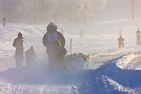 Musher Phil Joy mushes down the Chena River at the start of the 2008 Yukon Quest in Fairbanks, Alaska.