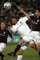 Los Angeles Galaxy forward Carlos Ruiz (20) and Colorado  Rapids defender Kosuke Kimura  (27) battle for possession during the opening ceremonies prior to an MLS regular season match against the Colorado Rapids at Dicks Sporting Goods Park in Commerce City, Colorado on March 29, 2008. The Rapids defeated the Galaxy 4-0.