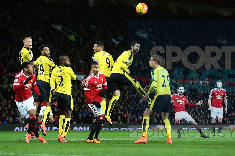 Juan Mata of Manchester United scores his sides opening goal - Barclay's Premier League - Manchester United vs Watford - Old Trafford - Manchester - 02/03/2016 Pic Philip Oldham/SportImage