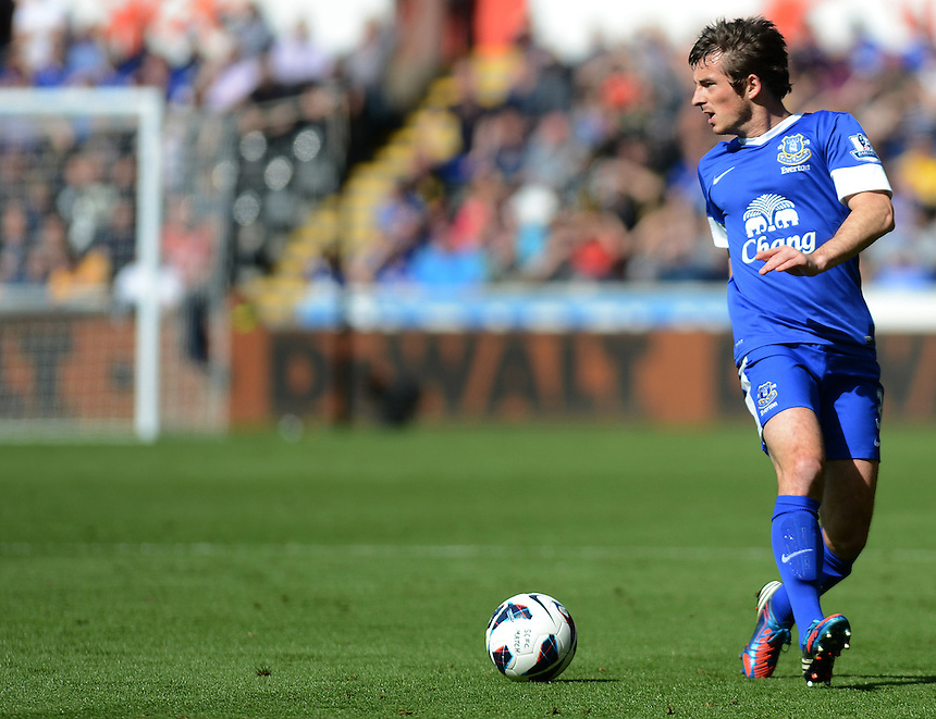Everton's Leighton Baines in action during todays match  ..Football - Barclays Premiership - Swansea City v Everton - Saturday 22nd September 2012 - Liberty Stadium - Swansea..