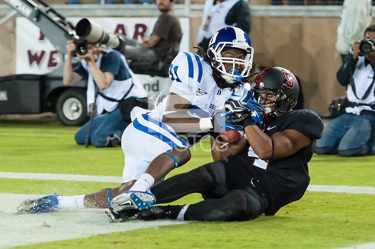 STANFORD, CA - SEPTEMBER 8, 2012: Drew Terrell catches a touchdown during the Stanford Cardinal 50 - 13 win over Duke.