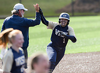NWA Democrat-Gazette/CHARLIE KAIJO Bentonville West High School Hallie Wacaser (1) runs home after scoring a home-run during a softball game, Friday, May 10, 2019 at Tiger Athletic Complex at Bentonville High School in Bentonville. Bentonville West High School defeated Bryant High School 5-3