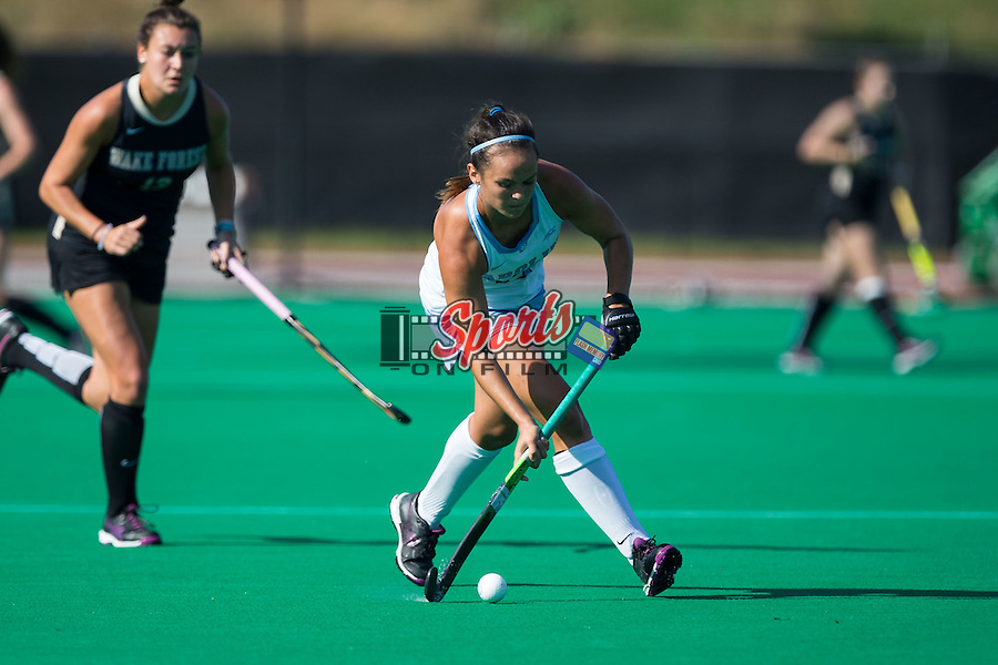 Kristy Bernatchez (3) of the North Carolina Tar Heels controls the ball during first half action against the Wake Forest Demon Deacons at Kentner Stadium on October 23, 2015 in Winston-Salem, North Carolina.  The Demon Deacons defeated the Tar Heels 3-2.  (Brian Westerholt/Sports On Film)