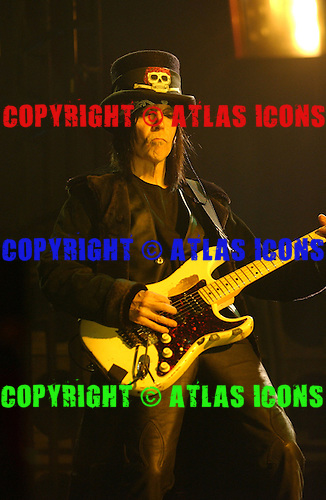 SUNRISE FL - FEBRUARY 17 : Mick Mars of Motley Crue performs at The Office depot Center on February 17, 2005 in Sunrise, Florida. : Credit Larry Marano (C) 2005