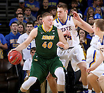SIOUX FALLS, SD - MARCH 8:  Dexter Werner #40 from North Dakota State backs down against Mike Daum #24 from South Dakota State during the 2016 Summit League Championship Game Tuesday at the Denny Sanford Premier Center in Sioux Falls, S.D. (Photo by Dave Eggen/Inertia)