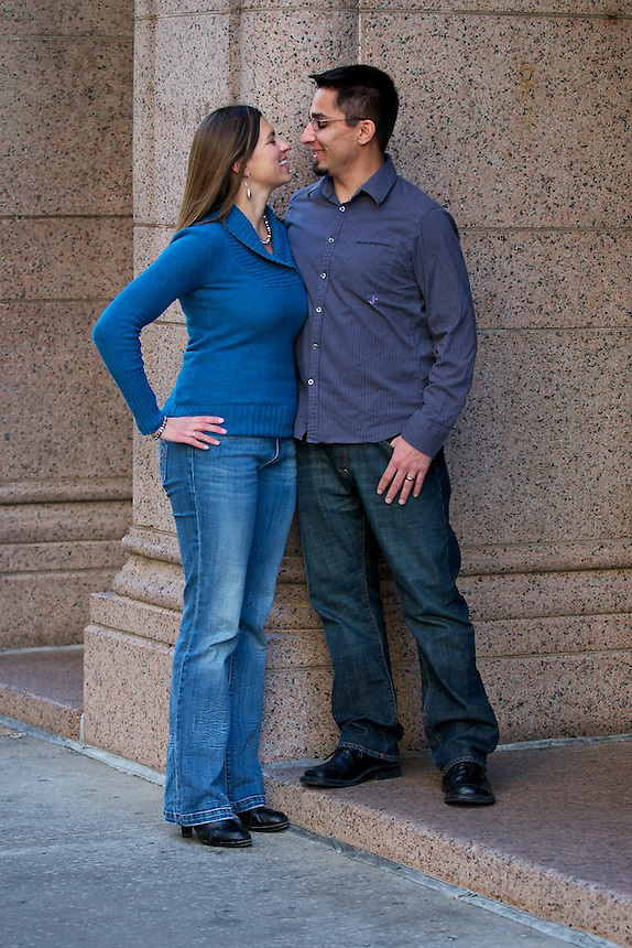 Daman Martinez and Joanna Bruggeman engagement photo session, October 31, 2010 in Downtown Denver and City Park in Denver, Colorado, United States.