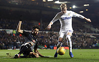 Leeds United's Ezgjan&nbsp;Alioski goes down in the penalty area under the challenge from Reading's Tiago Ilori and receives a yellow card by Referee Michael Dean for his efforts<br /> <br /> Photographer Rich Linley/CameraSport<br /> <br /> The EFL Sky Bet Championship - Leeds United v Reading - Tuesday 27th November 2018 - Elland Road - Leeds<br /> <br /> World Copyright &copy; 2018 CameraSport. All rights reserved. 43 Linden Ave. Countesthorpe. Leicester. England. LE8 5PG - Tel: +44 (0) 116 277 4147 - admin@camerasport.com - www.camerasport.com