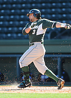 Third baseman John Martinez (3) of the Michigan State Spartans hits in a game against the Northwestern Wildcats on Sunday, February 17, 2013, at Fluor Field at the West End in Greenville, South Carolina. Michigan State won, 7-4. (Tom Priddy/Four Seam Images)