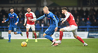 Rochdale's Stephen Dooley battles with Fleetwood Town's James Husband<br /> <br /> Photographer Hannah Fountain/CameraSport<br /> <br /> The EFL Sky Bet League One - Rochdale v Fleetwood Town - Saturday 19 January 2019 - Spotland Stadium - Rochdale<br /> <br /> World Copyright © 2019 CameraSport. All rights reserved. 43 Linden Ave. Countesthorpe. Leicester. England. LE8 5PG - Tel: +44 (0) 116 277 4147 - admin@camerasport.com - www.camerasport.com