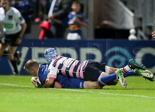 8th September 2017, RDS Arena, Dublin, Ireland; Guinness Pro14 Rugby, Leinster versus Cardiff Blues; Nick McCarthy (Leinster) scores a try