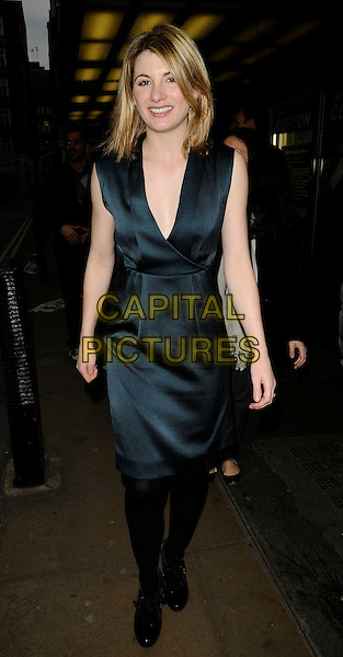 "JODIE WHITTAKER .At the ""Good"" Screening and Q & A session, Curzon Mayfair cinema, London, England, UK, March 30th 2009..full length dark  green dress silk satin  Q&A and low cut black tights silk satin shoes .CAP/CAN.©Can Nguyen/Capital Pictures"